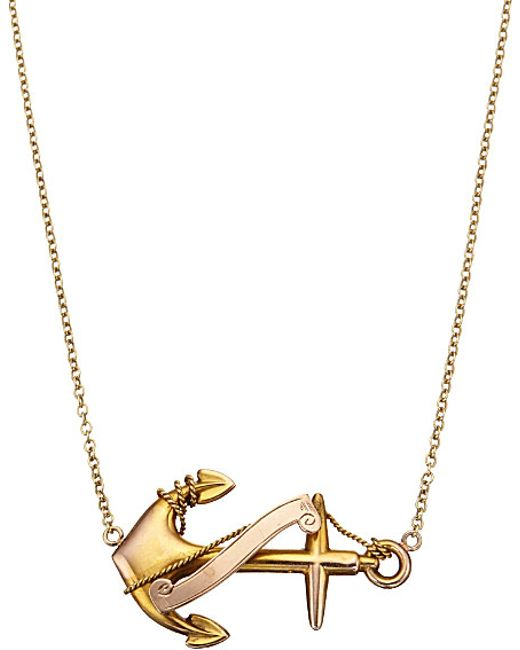 Annina Vogel | 9ct Yellow-gold Anchor Necklace | Lyst