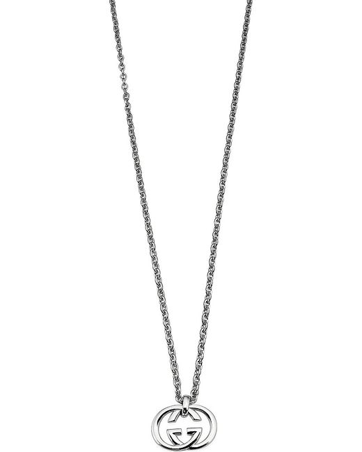 Gucci | Metallic Heart Shaped Interlocking G Pendant Necklace | Lyst