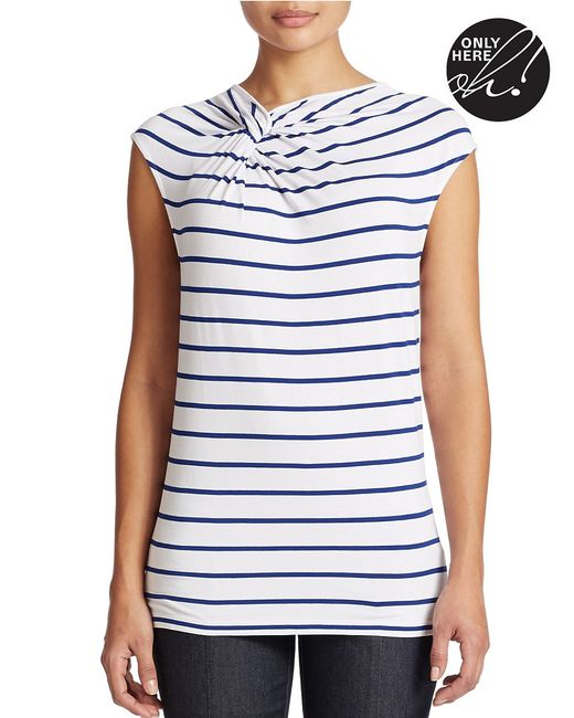 Lord & Taylor | Blue Plus Striped Twist-neck Top | Lyst