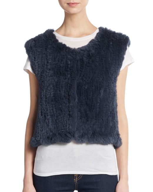 Saks Fifth Avenue | Blue Cropped Rabbit Fur Vest | Lyst