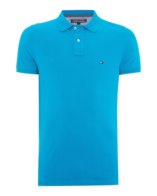 tommy hilfiger slim fit polo top in blue for men lyst. Black Bedroom Furniture Sets. Home Design Ideas