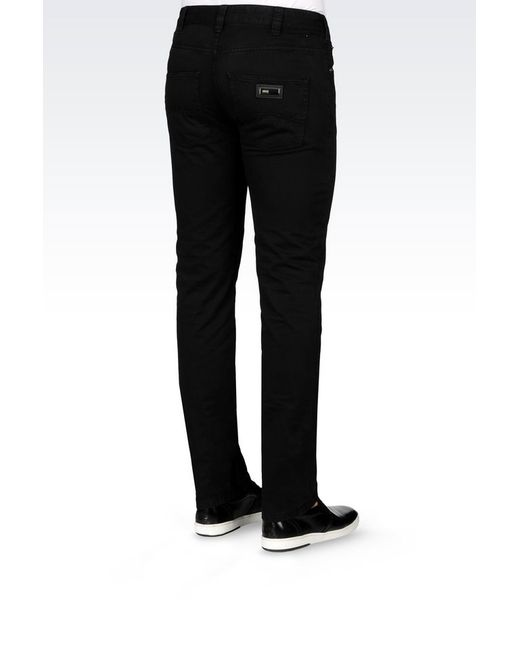 Armani   Black 5-pocket Trousers In Cotton for Men   Lyst