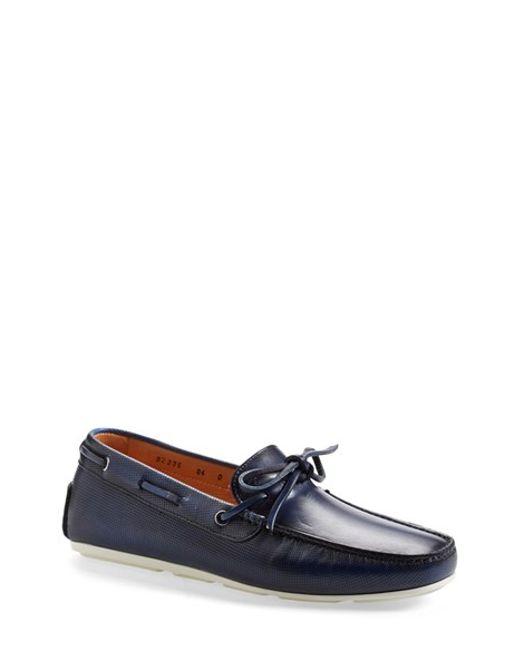 Santoni | Blue 'toft' Leather Driving Shoe for Men | Lyst