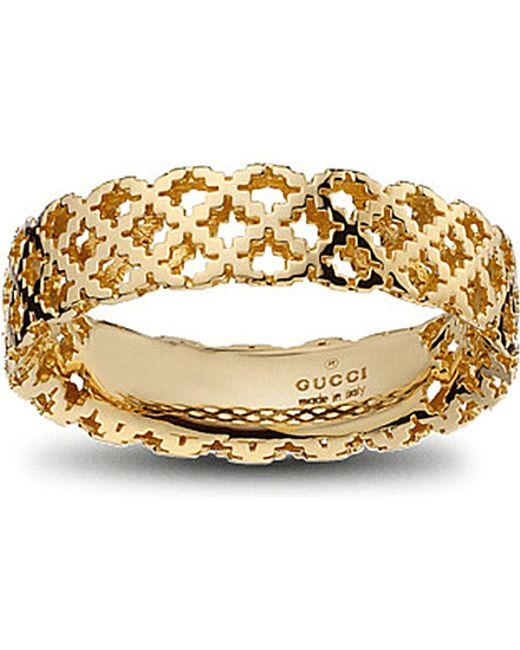Gucci   Metallic Motif 18ct Yellow-gold Ring   Lyst