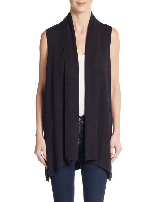 Calvin Klein | Black Flyaway Open-front Sweater Vest | Lyst