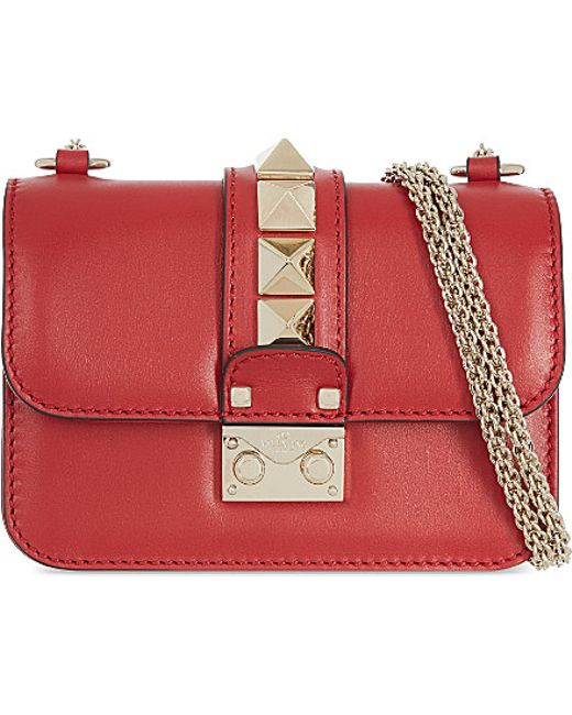 Valentino | Red Rockstud Lock Mini Clutch Bag | Lyst