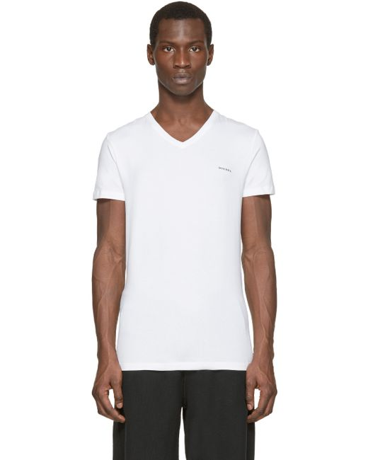 Diesel white v neck the essential t shirt in white for men for Mens diesel v neck t shirts