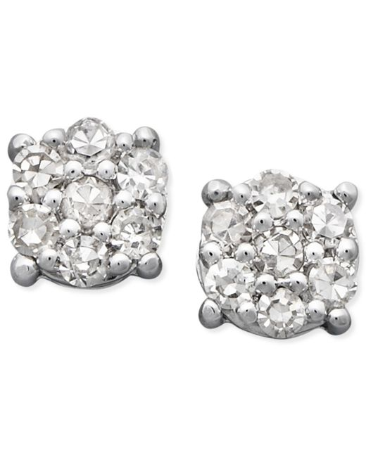 Macy's | Metallic Diamond Cluster Stud Earrings In 14k White Gold (1/10 Ct. T.w.) | Lyst