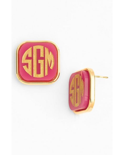 Moon & Lola | Pink 'vineyard' Personalized Monogram Stud Earrings | Lyst
