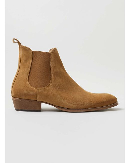 topman suede chelsea boots in brown for lyst