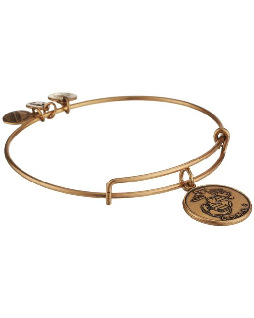 ALEX AND ANI | Metallic U.s. Marine Corps Charm Bangle | Lyst