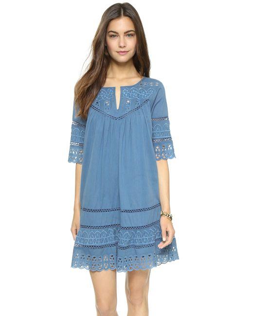 Love Sam | Blue Eyelet Cotton Voile Dress | Lyst
