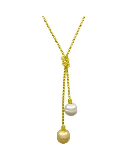 Majorica | Metallic Necklace, Organic Man-made Baroque Pearl Love Knot Lariat | Lyst