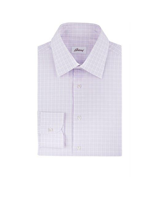 Brioni Men 39 S Plaid Dress Shirt In Purple For Men Lyst