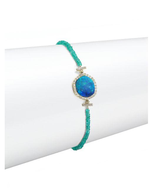 Meira T   Metallic Opal, Emerald, Diamond & 14k Yellow Gold Beaded Bracelet   Lyst