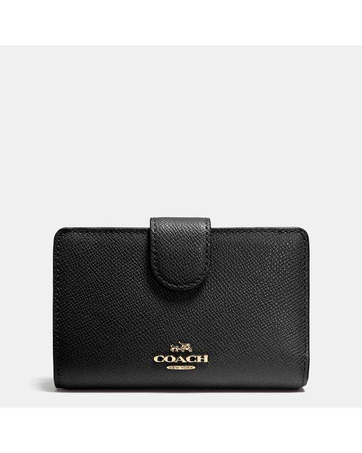 COACH | Black Medium Zip Around Wallet In Crossgrain Leather for Men | Lyst