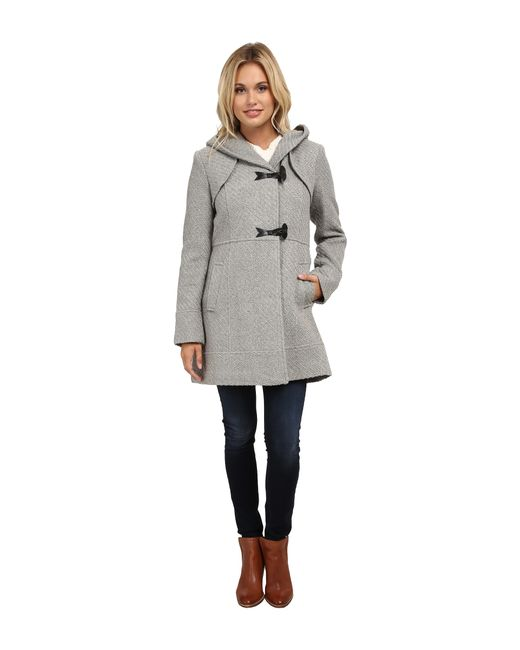Jessica Simpson | Gray Braided Wool Duffle Coat With Hood | Lyst
