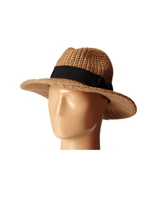 San Diego Hat Company | Natural Cth4117 Woven Yarn Stitch Fedora With Grosgrain Bow | Lyst