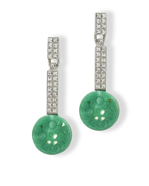 Kenneth Jay Lane | Green Jade Art Deco Clip Earring | Lyst