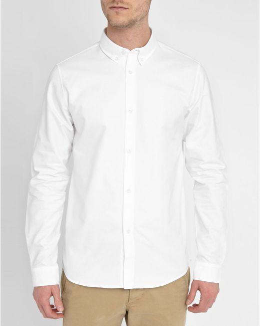 A p c white oxford shirt with button down collar in white for White button down collar oxford shirt