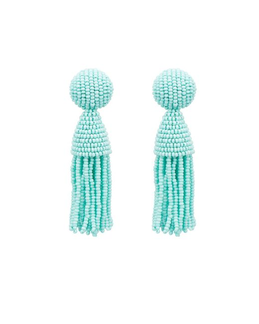 Oscar de la Renta | Blue Silver Classic Short Tassel Earrings | Lyst
