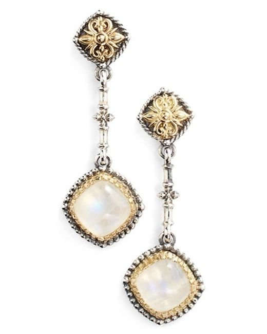 Konstantino | Metallic 'erato' Square Stone Drop Earrings | Lyst
