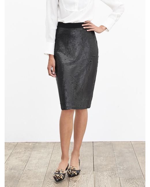 Banana Republic | Black Sequin Pencil Skirt | Lyst