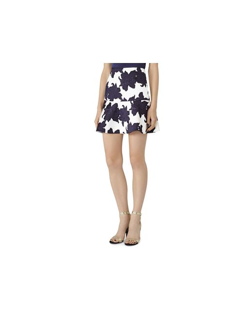 reiss ilse floral jacquard peplum skirt in blue white