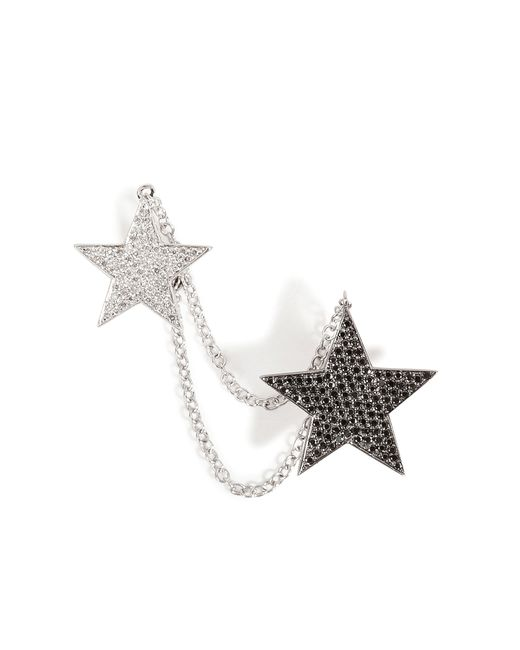 Nikos Koulis | 18kt White Gold And Diamond Double Star Cuff Earring - Silver | Lyst