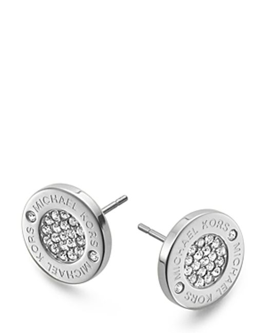 Michael Kors | Pink Pave Logo Stud Earrings | Lyst