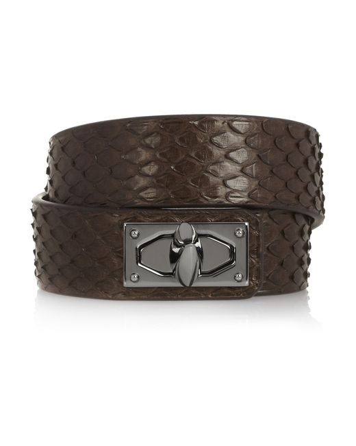 Givenchy | Brown Shark Lock Bracelet In Python And Gunmetal-tone Brass | Lyst