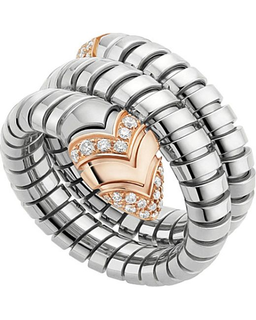 BVLGARI | Metallic Serpenti Tubogas 18ct Pink-gold, Diamond And Stainless Steel Ring - For Women | Lyst