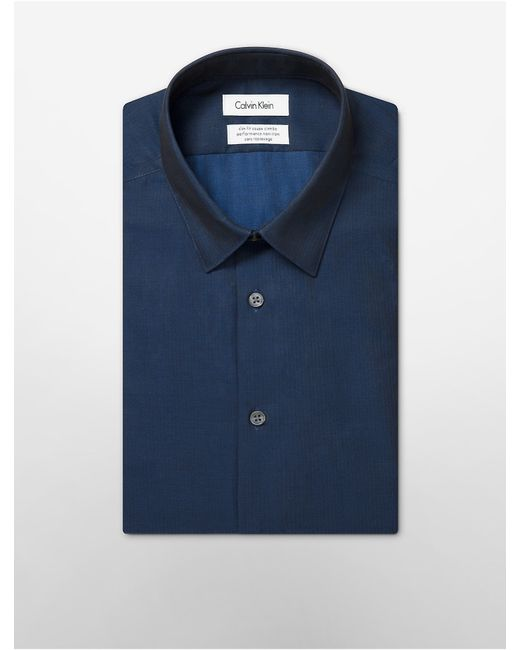 Calvin Klein | Blue Steel Slim Fit Non-iron Solid Herringbone Dress Shirt for Men | Lyst