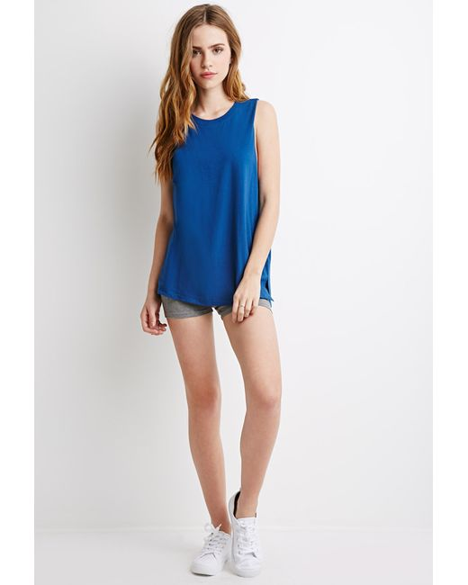 Forever 21 | Blue Boxy Muscle Tee | Lyst