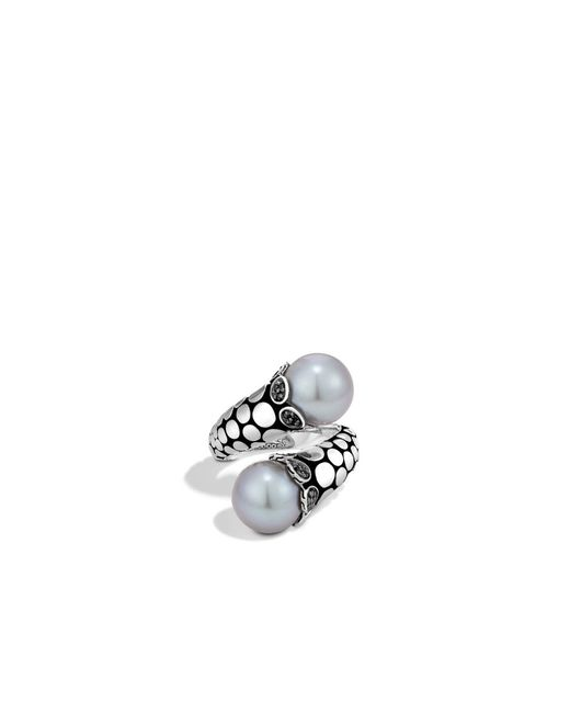John Hardy   Metallic Bypass Ring With Pearl And Black Sapphire   Lyst