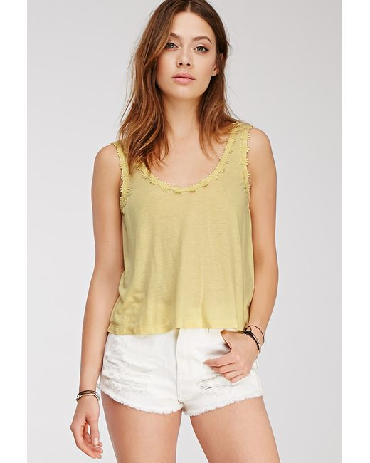Forever 21 | Yellow Crocheted Daisy-trimmed Top | Lyst