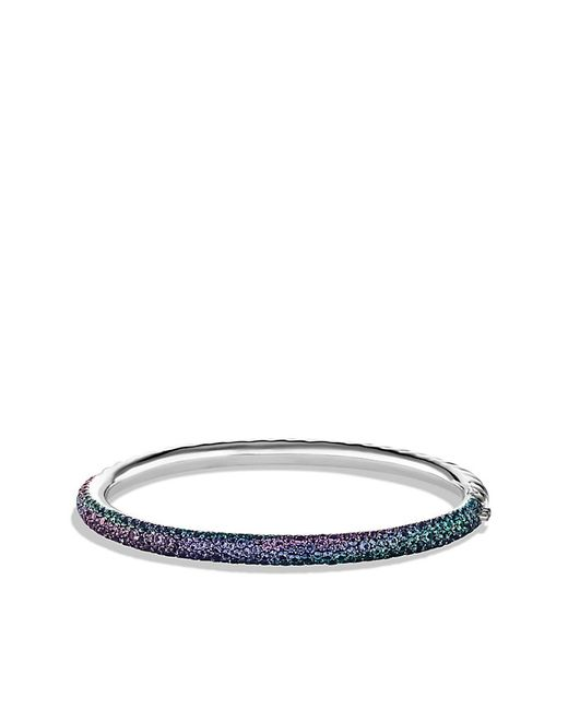 David Yurman | Limited Edition Pavé Cable Bangle With Color Change Garnets In White Gold | Lyst
