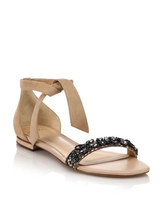 Alexandre Birman Clarita Jeweled Suede  Python Flat Sandals In Black Black-Nude -5674