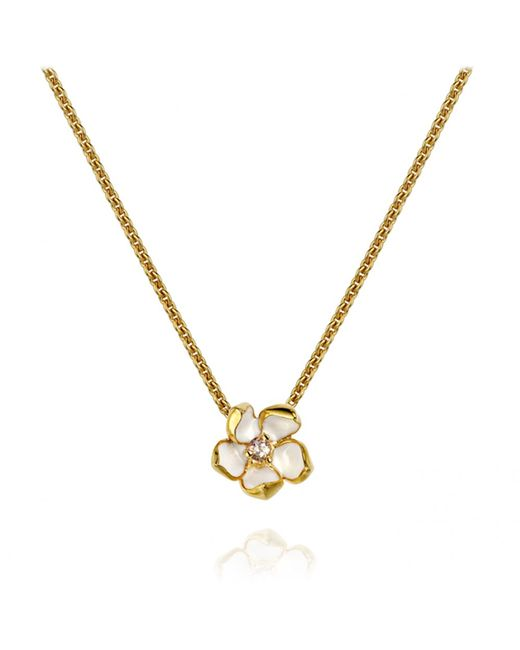 Shaun Leane | White Sterling Silver Gold Vermeil Cherry Blossom Necklace Size 1 | Lyst