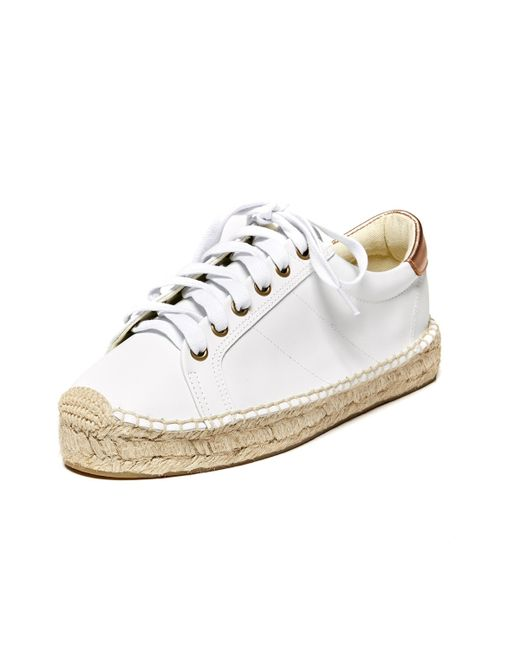 soludos leather platform tennis sneakerdrille in white lyst