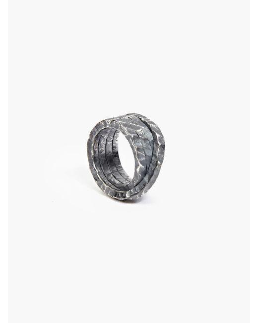 Denis Music | Metallic Oxidised Silver Moebius Large Cross Ring for Men | Lyst