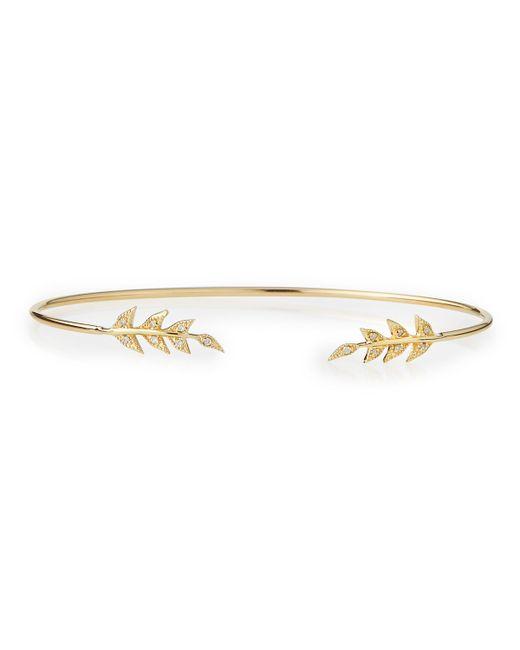 Mizuki | Metallic 14k Gold Cuff With Diamond Petals | Lyst
