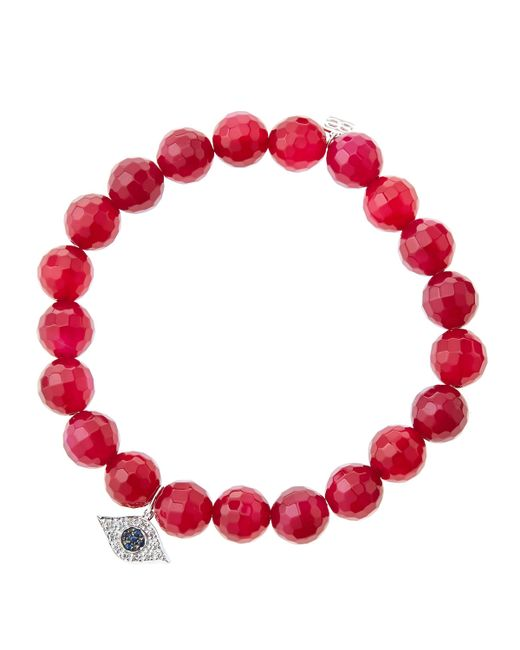 Sydney Evan | 8mm Faceted Red Agate Beaded Bracelet With 14k White Gold/diamond Small Evil Eye Charm (made To Order) | Lyst