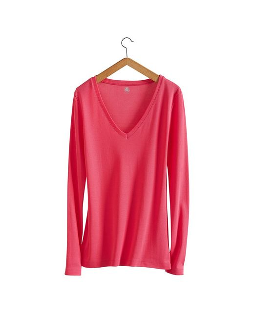Petit Bateau | Pink Women's Long-sleeved, V-neck Tee In New Cotton | Lyst