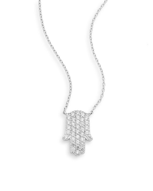 Ak Anne Klein | Metallic Sterling Silver Pavé Hamsa Pendant Necklace | Lyst