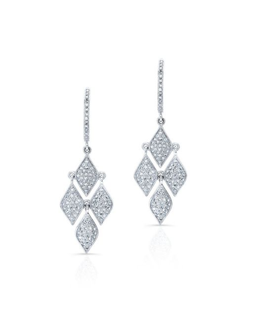 Anne Sisteron | Metallic 14kt White Gold Diamond Mini Marquis Earrings | Lyst