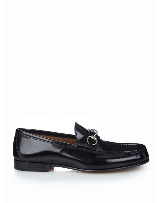 Gucci | Black Horsebit Leather Driving Shoes for Men | Lyst