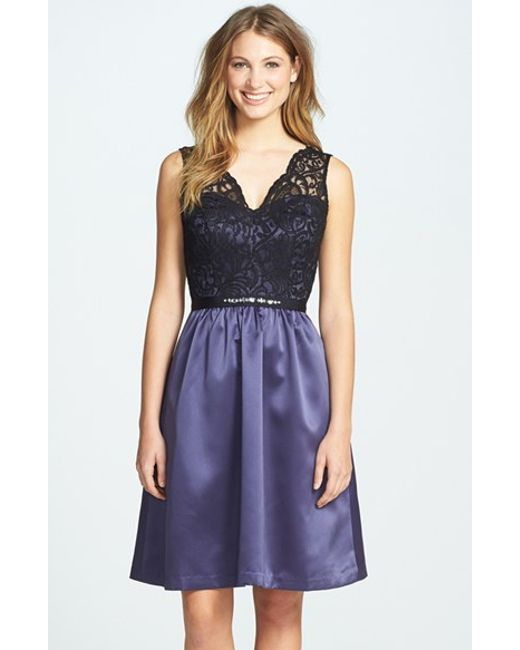 After Six | Purple Embellished Lace With Satin Fit & Flare Dress | Lyst