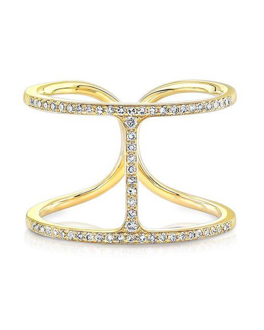 Anne Sisteron | 14kt Yellow Gold Diamond H Ring | Lyst