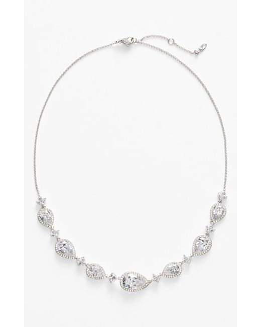 Nadri | Metallic Cubic Zirconia Frontal Necklace | Lyst